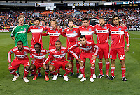 The Chicago Fire lines up before the game at RFK Stadium in Washington, DC.  The Chicago Fire defeated DC United, 2-0.