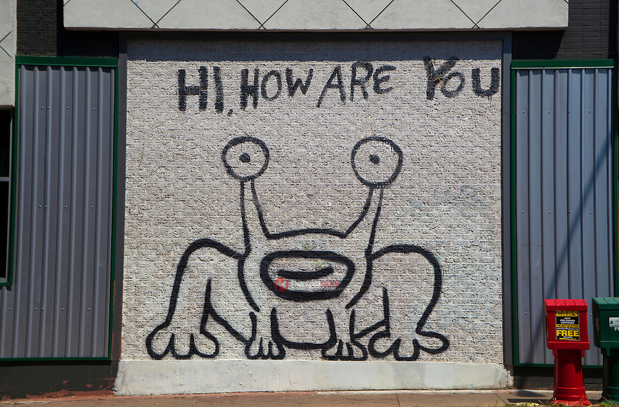 Hi, How Are You Mural, is a famous landmark created in 1993, on the side of Sound Exchange located on the corner of 21st and Guadalupe (The Drag). Locals have successfully endeavored to preserve the image when the building subsequently changed ownership to a Baja Fresh restaurant and more recently to a restaurant called Crave. In Spring 2008, a Jeremiah the Innocent collectible figurine was released in limited runs of four different colors.
