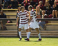STANFORD, CA - September 12, 2012: Stanford forward Jimmy Callinan (21) congratulates teammate Adam Jahn (9) on his goal during the Stanford vs San Jose St. men's soccer match in Stanford, California. Final score, Stanford 2, San Jose St. 1 in overtime.