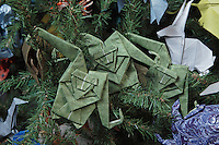 OrigamiUSA holiday tree at the American Museum of Natural History 2014. Detail of models: origami mascot monkeys designed by Tomoko Fuse.