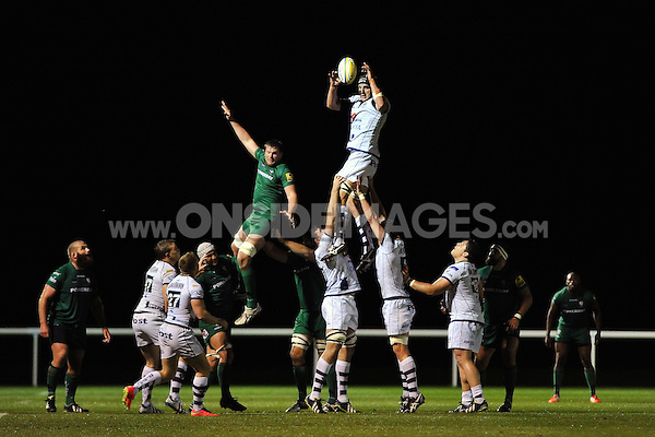 Mark Sorenson wins lineout ball for Bristol. Pre-season friendly match, between London Irish and Bristol Rugby on August 22, 2014 at Hazelwood in Middlesex, England. Photo by: Patrick Khachfe / JMP