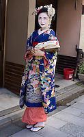 Meiko in spring Kimono in Kyoto, Japan. A Meikos kimono is different from a Geiko /Geisha kimono. Sleeves are longer, Obi (belt) larger, colors more intense.