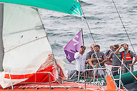 BRAZIL, Itajai.10th April 2012. Volvo Ocean Race. Groupama shore crew inspect the jury rig.