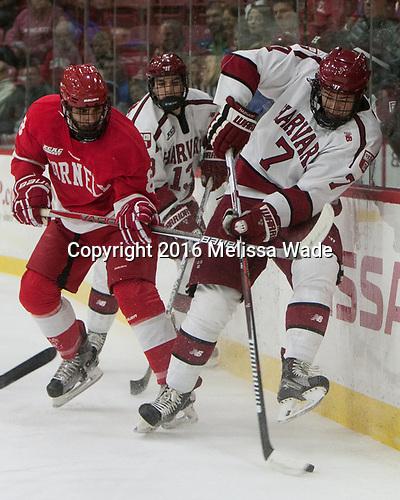Yanni Kaldis (Cornell - 8), Nathan Krusko (Harvard - 13), Eddie Ellis (Harvard - 7) - The Harvard University Crimson defeated the visiting Cornell University Big Red on Saturday, November 5, 2016, at the Bright-Landry Hockey Center in Boston, Massachusetts.
