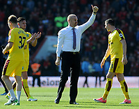 Burnley manager Sean Dyche applauds the travelling Burnley fans <br /> <br /> Photographer Ian Cook/CameraSport<br /> <br /> The Premier League - Bournemouth v Burnley - Saturday 13th May 2017 - Vitality Stadium - Bournemouth<br /> <br /> World Copyright &copy; 2017 CameraSport. All rights reserved. 43 Linden Ave. Countesthorpe. Leicester. England. LE8 5PG - Tel: +44 (0) 116 277 4147 - admin@camerasport.com - www.camerasport.com