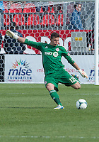 18 May 2013: Toronto FC goalkeeper Joe Bendik #12 in action during an MLS game between the Columbus Crew and Toronto FC at BMO Field in Toronto, Ontario Canada..The Columbus Crew won 1-0...