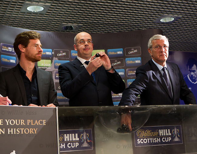 Andre Villas-Boas and Marcello Lippi make the draw for the 5th round of the William Hill Scottish Cup with JIm Mullen of William Hill