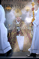 Pope Benedict XVI leads the Palm Sunday mass in Saint Peter's Square at the Vatican on April 17 2011.