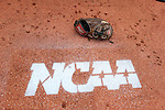 02 June 2016: A glove on the mound in the Nova Southeastern bullpen. The Nova Southeastern University Sharks played the Cal Poly Pomona Broncos in Game 11 of the 2016 NCAA Division II College World Series  at Coleman Field at the USA Baseball National Training Complex in Cary, North Carolina. Nova Southeastern won the semifinal game 4-1 and advanced to the championship series.