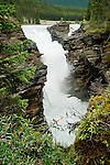 Athabasca Falls flowing from  the athabasca river along the Icefields Parkway in Canada