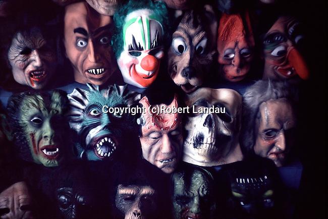 Haloween masks on display in Magic Shop window on Hollywood Blvd. circa 1977