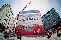 "A giant bag of Jack Link's brand beef jerky, 30 feet tall and 28 feet wide, is displayed in Gansevoort Plaza in the Meatpacking District of New York on Friday, June 12, 2015. The giant bag, named ""Meatzilla"" was a promotion for the company on ""National Jerky Day"" and Jack Link's will donate a ton of their processed meat product to the Food Bank For New York city. (© Richard B. Levine)"