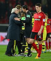 FUSSBALL   1. BUNDESLIGA   SAISON 2012/2013    20. SPIELTAG Bayer 04 Leverkusen - Borussia Dortmund                  03.02.2013 Rudi Voeller (li) reklamiert bei Schiedsrichter Deniz Aytekin