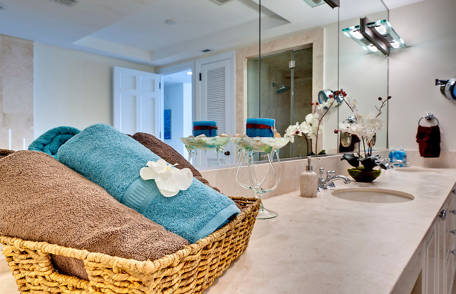 Modern bathroom decorated, focus on towels.