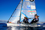 49erFX pair Sarah Steyaert and Julie Bossard training during a sunny and windy day in Marseille, France.