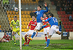 St Johnstone v Ross County....22.11.14   SPFL<br /> Michael O'Halloran head the ball against the post<br /> Picture by Graeme Hart.<br /> Copyright Perthshire Picture Agency<br /> Tel: 01738 623350  Mobile: 07990 594431