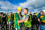 Doughie Fitzell of Kilmoyley celebrating their win with team selector Richard Gentleman at the Gaelic Grounds, Limerick<br /> <br /> Photo: Oisin McHugh True Media