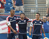 In a Major League Soccer (MLS) match, the New England Revolution (blue) defeated LA Galaxy (white), 5-0, at Gillette Stadium on June 2, 2013.
