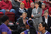 STANFORD, CA - February 27, 2014: Stanford Cardinal's Tara VanDerveer and Kate Paye during Stanford's 83-60 victory over Washington at Maples Pavilion.