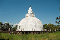 Sri Lanka. Yatala Dagoba or stupa near Tissamaharama. The Yatala stupa or dagoba, was built 2300 years ago with a surrounding wall of sculpted elephant heads surrounded by a moat.