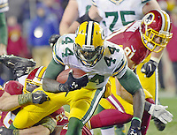 Green Bay Packers running back James Starks (44) carries the ball in the fourth quarter against the Washington Redskins at FedEx Field in Landover, Maryland on Sunday, November 20, 2016.  Washington Redskins inside linebacker Will Compton (51) and outside linebacker Ryan Kerrigan (91) defend on the play.  The Redskins won the game 42 - 24.<br /> Credit: Ron Sachs / CNP /MediaPunch