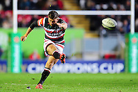 Owen Williams of Leicester Tigers kicks for the posts. European Rugby Champions Cup match, between Leicester Tigers and Racing 92 on October 23, 2016 at Welford Road in Leicester, England. Photo by: Patrick Khachfe / JMP