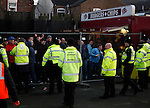 Grimsby Town 1 Lincoln City 3, 28/12/2014. Blundell Park, Football Conference. Lincoln fans celebrating their sides equaliser contained behind a fence.  Photo by Paul Thompson.