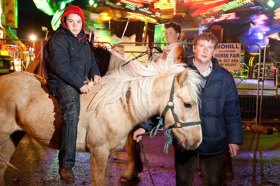 4/10/2010. Jack O Donoghue aged 11, John Sheehan 10 and PJ Fanning from Holy Cross County Tipperay are pictured at the Ballinasloe Horse Fair, Ballinasloe, County Galway, Ireland. Picture James Horan.
