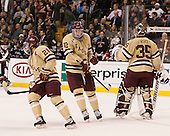 Steven Whitney (BC - 21), Kevin Hayes (BC - 12), Parker Milner (BC - 35) - The Boston College Eagles defeated the Northeastern University Huskies 6-3 for their fourth consecutive Beanpot championship on Monday, February 11, 2013, at TD Garden in Boston, Massachusetts.