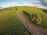 A country road winds in the hills of rural Amador County aerials from a sUAV quadcopter.