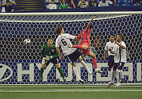 USA's Michael Bradley (6) dispossesses a Korean player while goalkeeper Chris Seitz looks on during the match played at Olympic Stadium, Montreal in the FIFA U-20 World Cup on June 30, 2007.  The match ended in a tie 1-1, before more than 50,000 spectators.