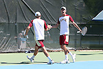 08 May 2015: Alex Gasson (ENG) (right) and Henry Craig (left). The University of Denver Pioneers played the Mississippi State University Bulldogs at Cone-Kenfield Tennis Center in Chapel Hill, North Carolina in a 2015 NCAA Division I Men's Tennis Tournament First Round match. MSU won the match 4-3.