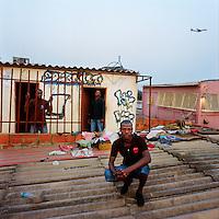 Kuduru/Kuduro musicians on the roof of their recording studio. The studio is in a house in the Sambizanga musseque (slum) near Luanda's airport..