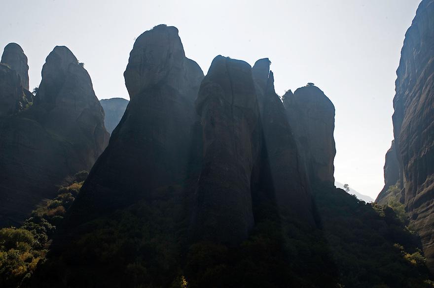 Greece, Meteora, cliffs in backlight