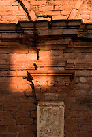 Fine carved details survive the weather at the ruins if the Jesuit mission church at Jesus de Tavarangue, Paraguay. Scores of Jesuit missions in the area where Paraguay, Argentina and Brazil meet were built in the 17th century and abandoned when the Jesuits were expelled in the 18th century. Ruins of some of these missions still haunt hilltops in the region. (Kevin Moloney for the New York Times)