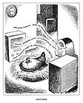 Nocturne (cartoon showing the electorate as a chicken sitting on its eggs while listening to media reports on the radio threatening to repudiate, eliminate or confiscate its nest egg)