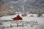 IDaho, North, Kootenai County, Coeur d'Alene. Ryder Ranch at Wolf Lodge on winter day.