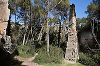 The Quarry of El Mèdol; Roman, Tarragona (Tarraco, Hispania Citerior), Catalonia, Spain; The most spectacular one, near the ancient Via Augusta, nine km north of Tarragona; The impressive stone needle in the centre is a memorial to the labours undertaken on this site.