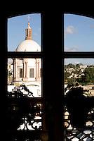 The dome of the Parroquia San Pedro church from the Posada de las Minas hotel in the 19th-century mining town of Mineral de Pozos, Guanajuato, Mexico