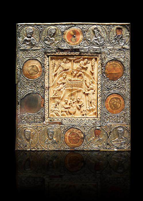 Medieval Christian relief Icon depicting scenes from the Nativity, A central ivory panel surrounded by beaten silver border. From Constantinople, 11th or 12th century. Inv. OA 11399, The Louvre Museum, Paris.
