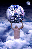 A man holding planet Earth, standing in clouds with the moon in the background. Title: The modern time Atlas.