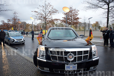 Nov.17-16 Chancellery,Berlin,Germany<br /> The United States presidential state car (nicknamed &quot;The Beast&quot;, &quot;Cadillac One&quot;, &quot;First Car&quot;; code named &quot;Stagecoach&quot;) is the official state car of the President of the<br /> outgoing US president, Barack Obama who is<br /> welcomed by close friend and partner, Chancellor Angela Merkel