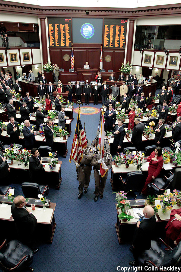 TALLAHASSEE, FL. 3/3/09-FLORIDA HOUSE2009 CH07-A Florida Highway Patrol Color Guard leaves the House of Representatives chamber during opening day ceremonies of the 2009 Legislative session, March 3, 2009 at the Capitol in Tallahassee, Fla...COLIN HACKLEY PHOTO