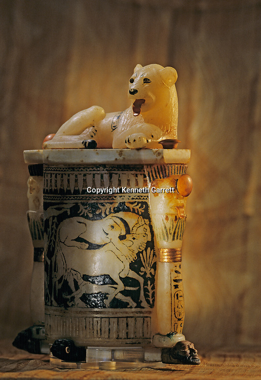 Cosmetic jar with lion on lid, Tutankhamun and the Golden Age of the Pharaohs, Page 241