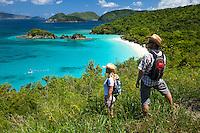 Hikers at Trunk Bay.Virgin Islands National Park.St. John, U.S. Virgin Islands