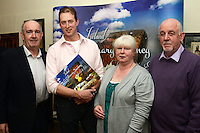 "Dermot Seberry at the launch  of his new cookbook ""Ireland, a culinary journey in the North East"" in Stockwell Artisan Foods with John O'Mahony of Ferdia Chocolates, and   Richard Gladney and Sheila Grant of Blas na Talun."