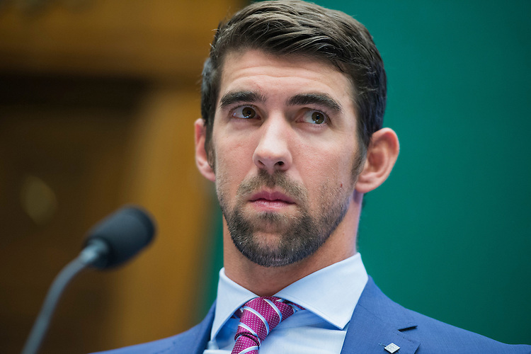 UNITED STATES - FEBRUARY 28: Olympian Michael Phelps testifies during a House Energy and Commerce Subcommittee on Oversight and Investigations hearing in Rayburn Building on ways to strengthen the international anti-doping system, February 28, 2017. (Photo By Tom Williams/CQ Roll Call)