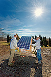 Installing a residential solar array.  Private residence, Sellersville, Pa. - Moore Energy Systems