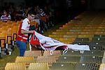 Port Vale 3 Doncaster Rovers 0, 22/08/2015. League One, Vale Park. a Doncaster fan takes his flag home. Photo by Paul Thompson.