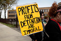 Newark, USA. 07th May 2014. Residents attend a protest calling for end to deportations outside a detention center office in New Jersey. Kena Betancur/VIEWpress